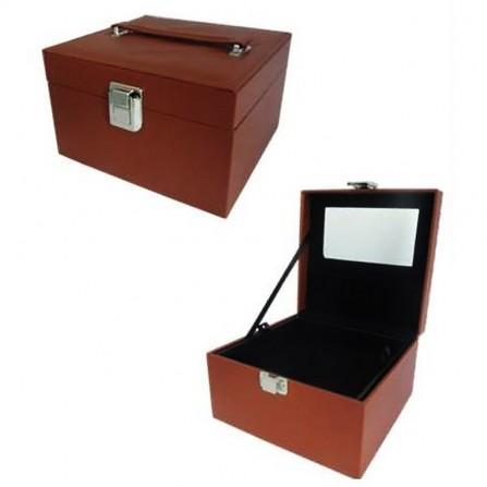 Kufer Kuferek Kosmetyczny Brązowy Z Lusterkiem