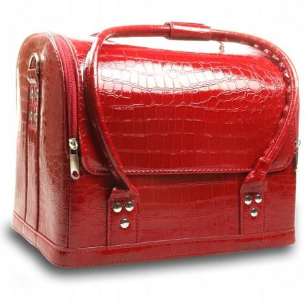 Kuferek Kosmetyczny Torba Na Lakiery Krokodylek Czerwony