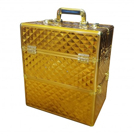Duży Kuferek Na Kosmetyki Rozkładany Gold 3D